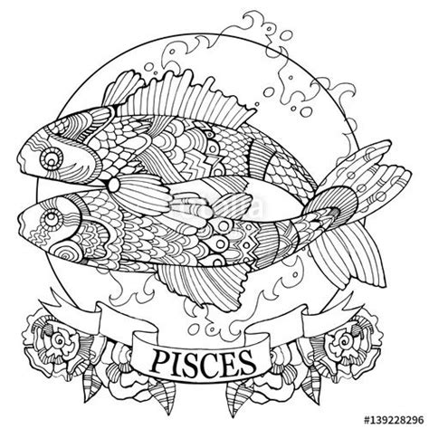 pisces color pisces zodiac sign coloring page for adults on fotolia