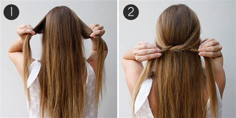 easy diy half up half down hairstyles simple summer do the knotted half updo more com