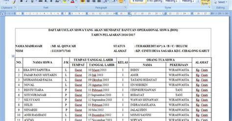 contoh format grafik absensi siswa download contoh daftar siswa penerima dana bantuan