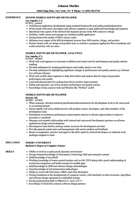 mobile software developer resume sles velvet