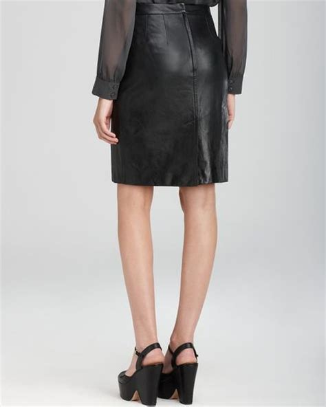 dkny leather pencil skirt in black lyst