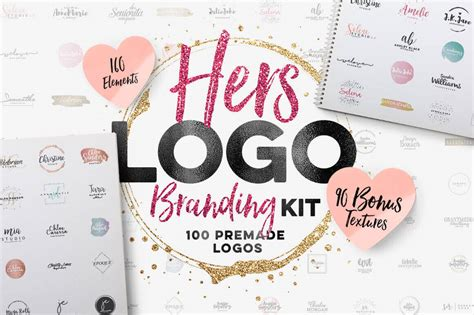Deal Of The Week 100 Logos Plus 160 Vectors In The Quot Hers Quot Logo Branding Kit Noupe Branding Kit Template
