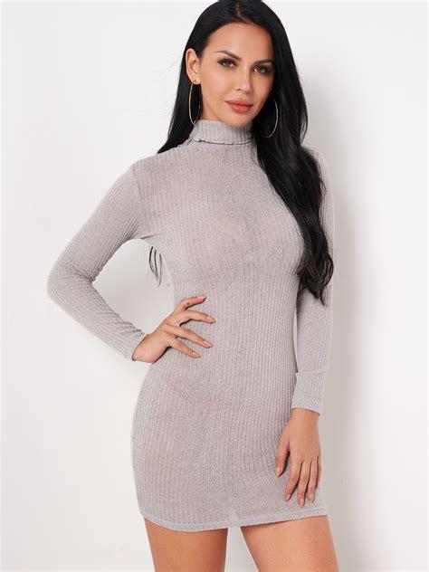 grey plain turtleneck sleeves tight waist bodycon