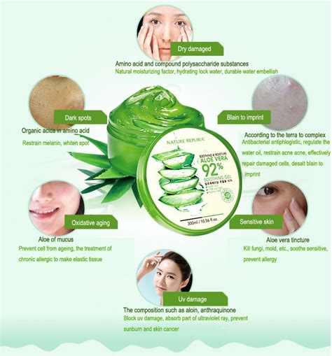 Nature Republic Aloe Vera Soothing Gel For Acne skin care nature republic aloe vera gel essence whitening