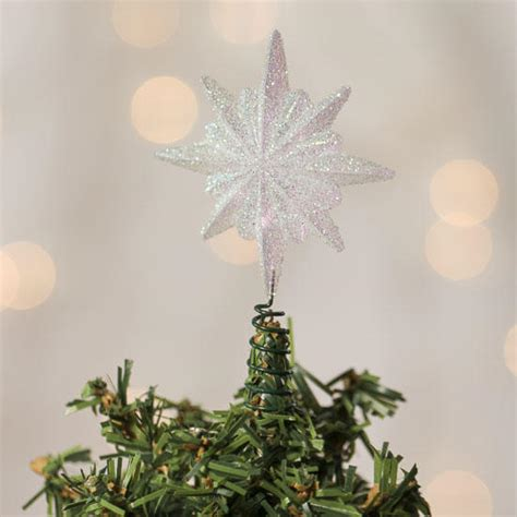small iridescent glitter star tree topper trees and