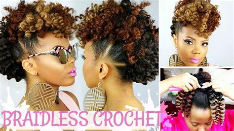 Mohawk Hairstyle For Black Crochet by Braidless Crochet No Cornrows Curly Crochet Faux Hawk