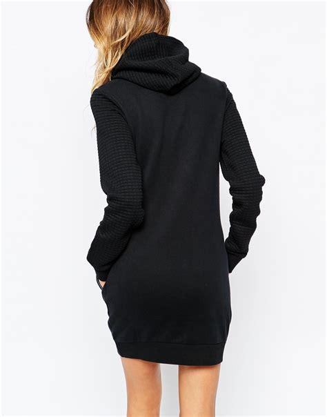 Sweatshirt Dress lyst quilted hooded sweatshirt dress in black