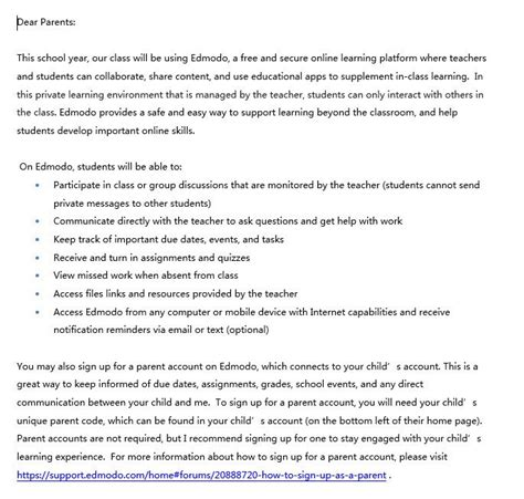 Parent Letter Explaining Edmodo Sle Letter Home Permission To Parents Explains Edmodo And Gets Permissionfor Their Child To