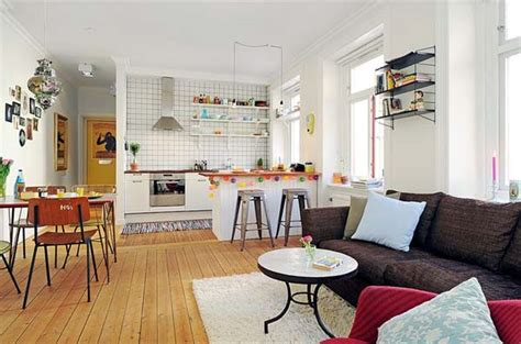 small open floor plan kitchen living room cosy one bedroom apartment with an open floor plan