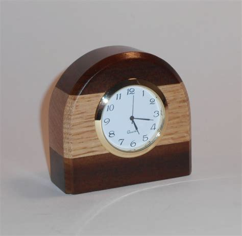 Small Two Tone Wooden Desk Clock Made Of Oak And Burnt Poplar Small Desk Clock