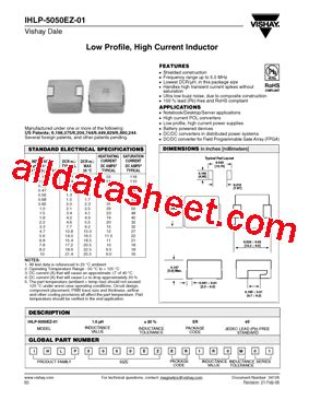 vishay inductors datasheet ihlp 5050ez 01 datasheet pdf vishay siliconix
