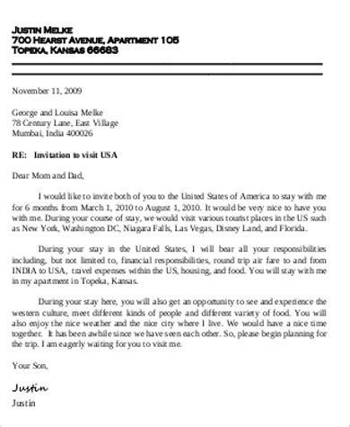 sample invitation letters  visa  word