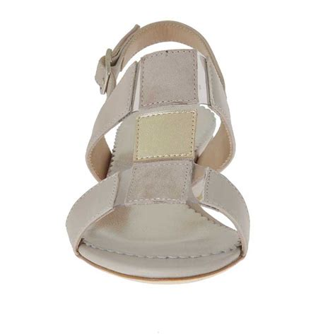 Sandal Beige s sandal in beige and platinum leather and beige