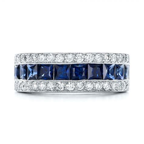 diamond  blue sapphire anniversary band