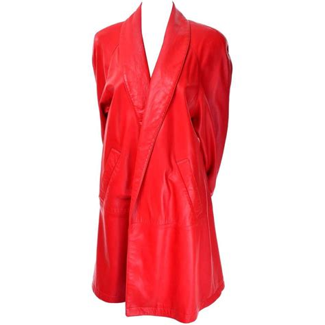 orange swing coat 1980s vakko orange red leather semi swing coat medium