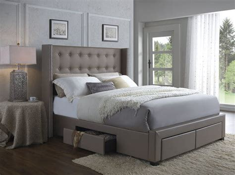 tufted storage bed wingback storage bed frame furniture tufted leather upholstery headboard bedroom