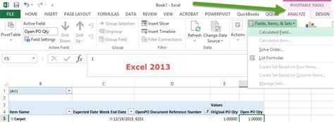 Pivot Table Calculated Item by Calculated Field Greyed Out In Pivot Table Excel 2013