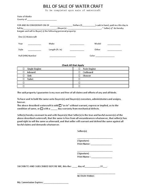 bill of sale form alaska employment application templates free alaska watercraft bill of sale form download pdf word