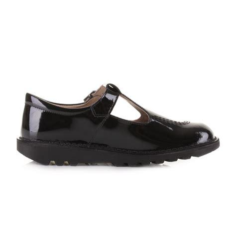 kickers flat shoes kickers youth kick t black patent t bar leather