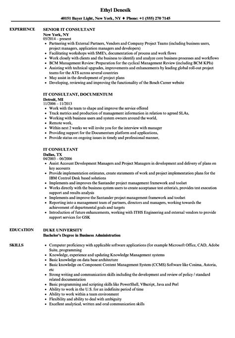 It Consultant Resume by It Consultant Resume Sles Velvet