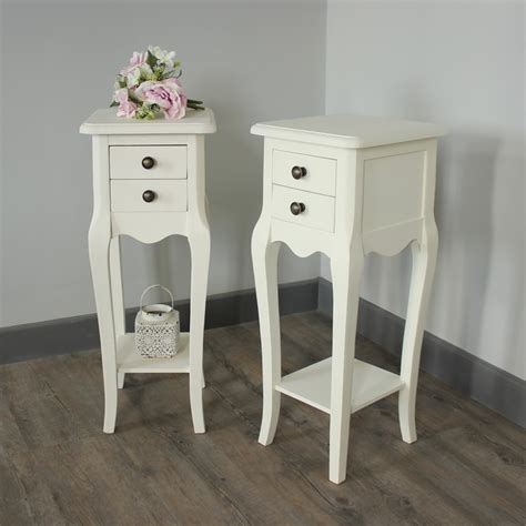 pair of ivory slim 2 bedside tables shabby vintage chic