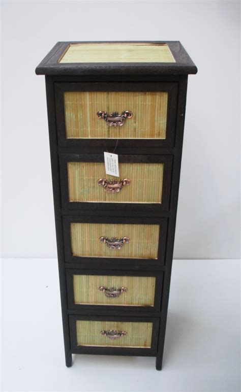 Rattan Bathroom Storage 5 Draw Wicker Bathroom Living Room Storage Unit Cabinet Ebay