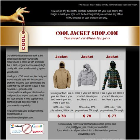 cool html email templates cool shop free html e mail templates
