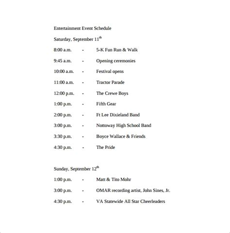 14 Event Schedule Templates Sle Templates Concert Itinerary Template