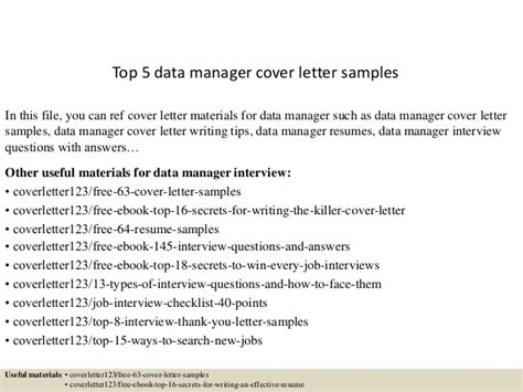 Data Officer Cover Letter by Top 5 Data Manager Cover Letter Sles