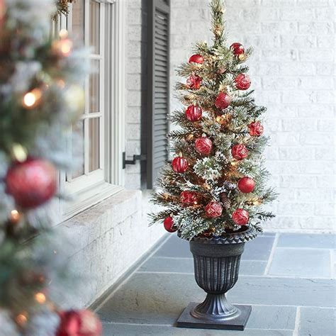 home depot alexandria pine tree martha stewart living 4 ft pre lit potted sparkling pine artificial tree with clear