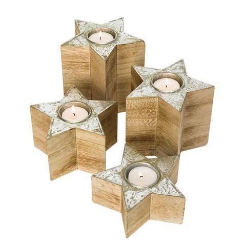 weihnachtsdeko mit holz weihnachtsdeko teelichthalter sterne holz natur silber 4er