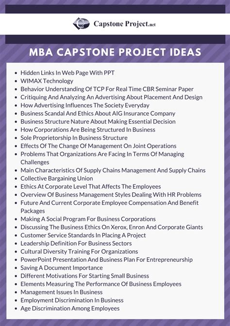 Mba Project Management Business Topics by Senior Thesis Topic Ideas