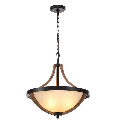 Driftwood Pendant Light Hton Bay Talo 3 Light Driftwood Bowl Pendant Light 27213 The Home Depot