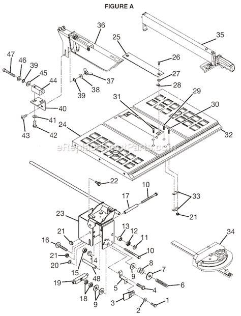 ryobi table saw bts10 manual ryobi bts10 parts list and diagram ereplacementparts com