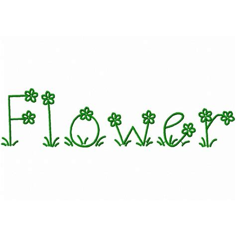 typography embroidery flower embroidery font