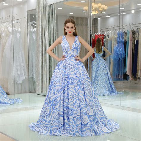 haute couture  neck blue printing evening gown dresses