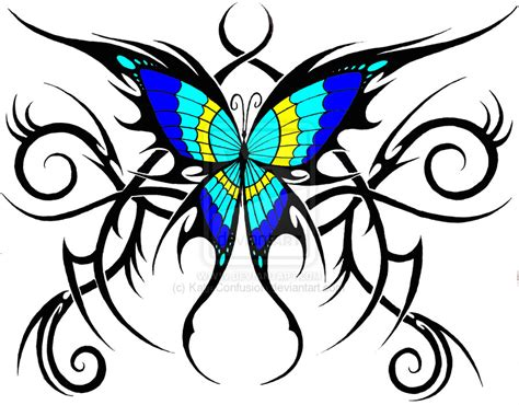 colour tribal tattoos colored tribal butterfly design