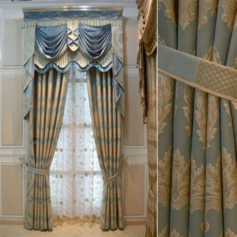Blue And Gold Curtains Blue White Gold Drapes House Hotel Curtains For Living Room Gold Thickening Luxury Blue