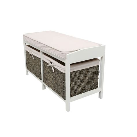 oak storage bench with baskets rustic padded cream wooden storage bench with 2 cotton