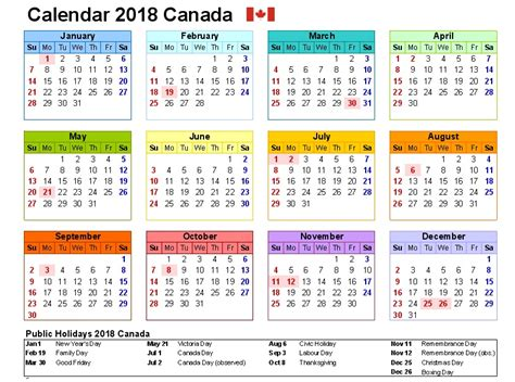 printable monthly calendar with canadian holidays canada holidays 2018 2018 canadian calendar free