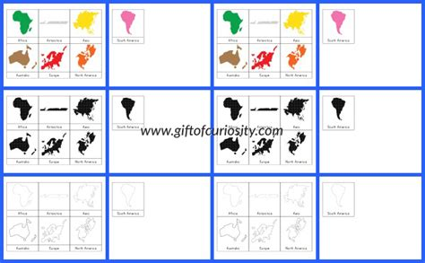 Puzzle Solar World Map montessori continents 3 part cards and world map