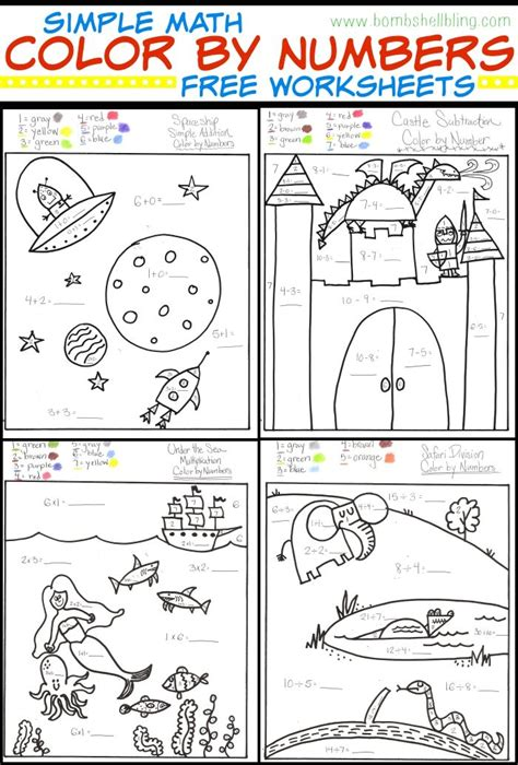 color by number math simple math color by number worksheets multiplication