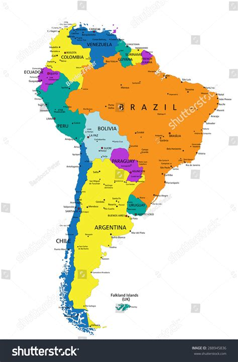 south america map labeled colorful south america political map clearly stock vector