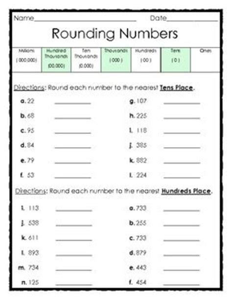 Rounding Numbers Worksheets by Rounding Numbers To The Tens And Hundreds Places 1 Page