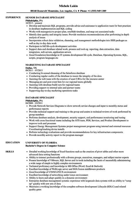 database specialist resume sles velvet