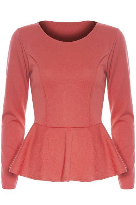 Wst 16612 Frill Collar Shirt womens peplum top plain sleeve flared stretchy