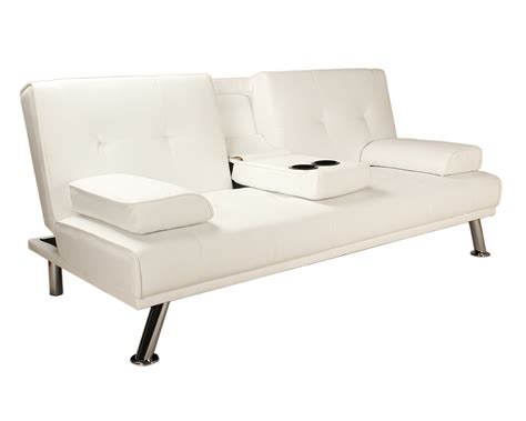 double bed settee sofa bed white faux leather click clack double couch 2 to