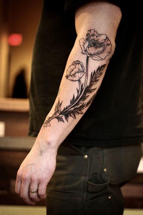 left arm tattoos poppy images designs
