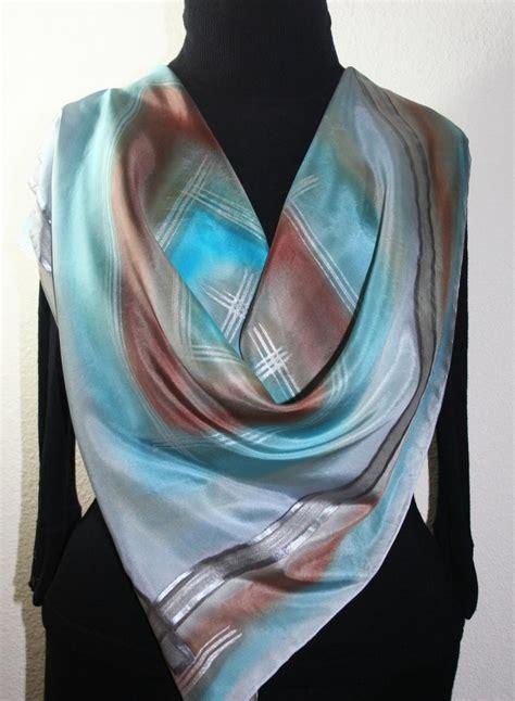 silver grey steel blue brown handmade scarf foggy