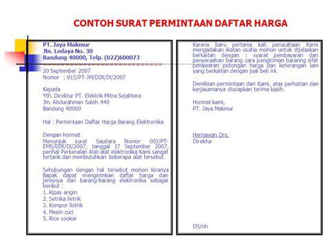 Contoh Surat Permintaan Produk Yang Ditawarkan by Surat Niaga Bisnis Pengertian Ppt